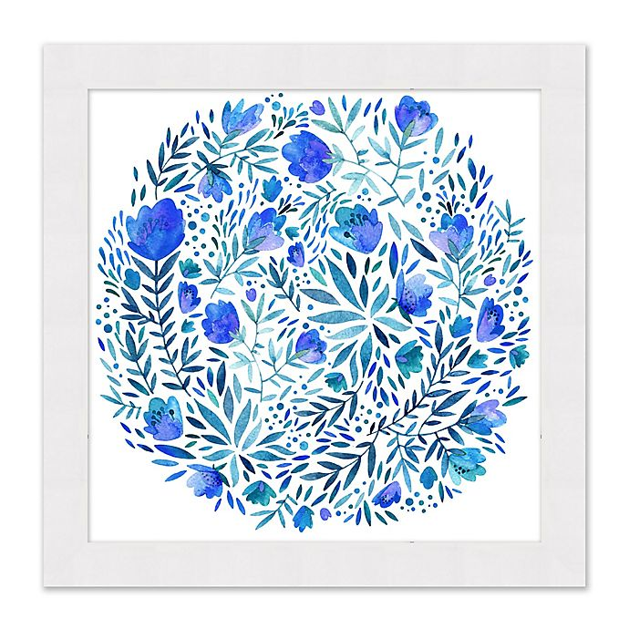Alternate image 1 for Blue Floral Circle 27.5-Inch Square Framed Print Wall Art