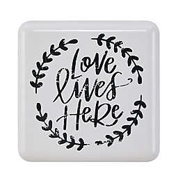 """Danya B.™ """"Love Lives Here"""" Metal Wall Art in White"""