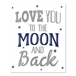 Love You Moon and Back 16-Inch x 20-Inch Canvas Wall Art
