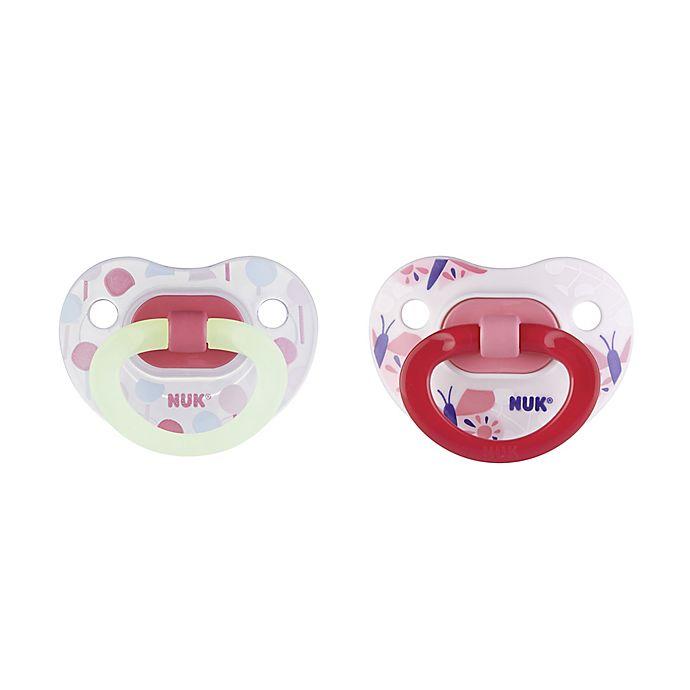 Alternate image 1 for NUK® Glow-in-the-Dark 6-18M Lollipop 2-Pack Orthodontic Pacifiers