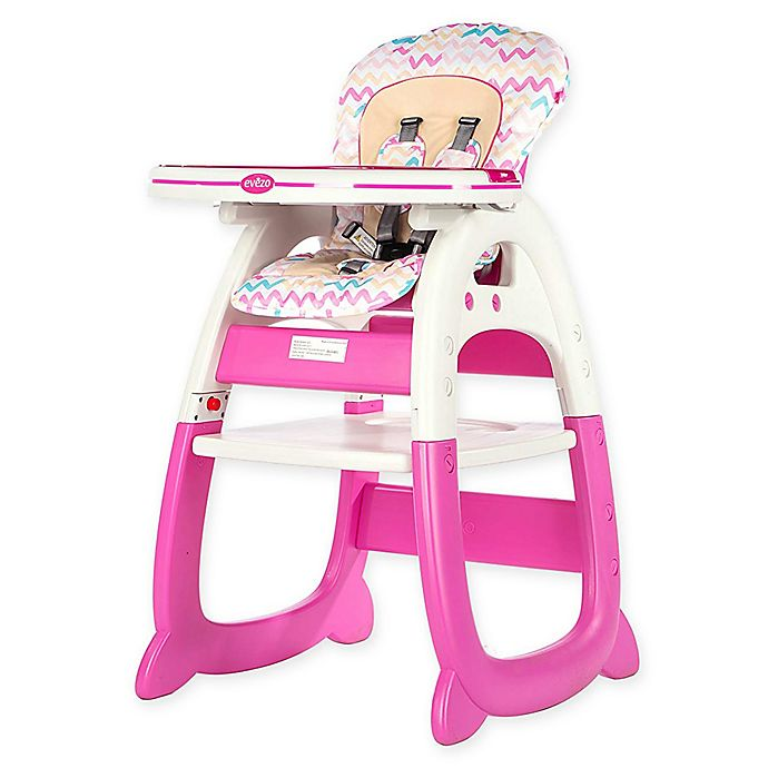 Alternate image 1 for Evezo Rose Convertible High Chair in Pink