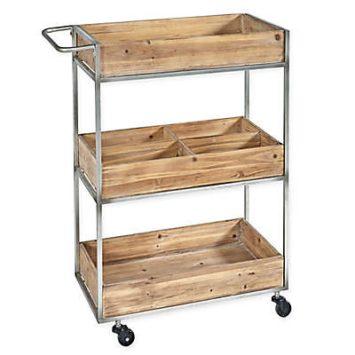 Linon Home Henry Metal & Wood Cart in Silver