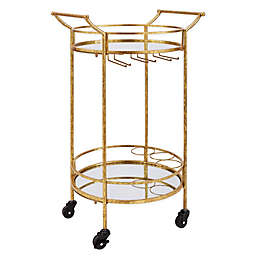 Linon Home Teague Round Metal Bar Cart in Gold