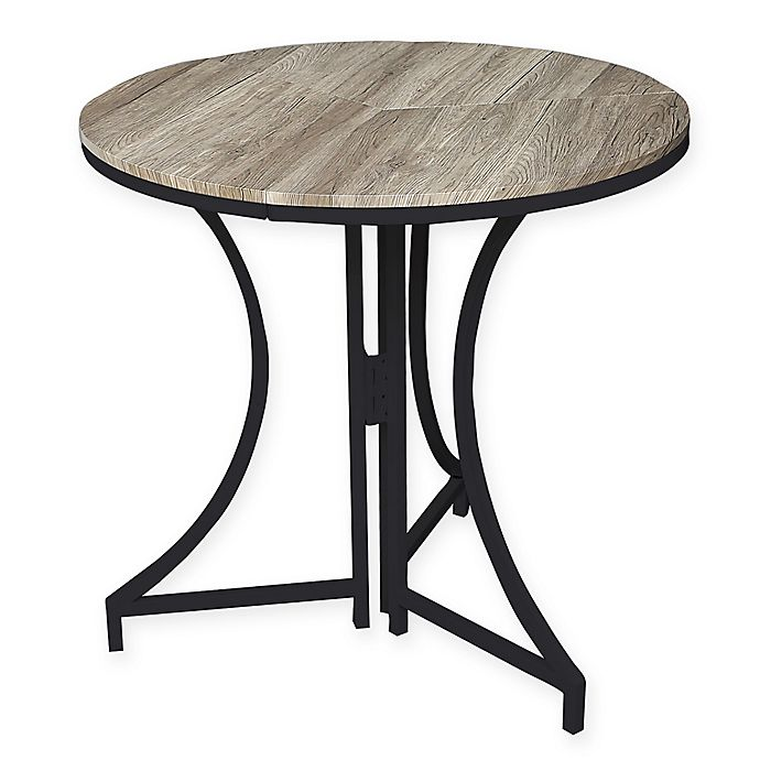 Alternate image 1 for SpaceMaster™ Round Wood Pattern Folding Table in Black