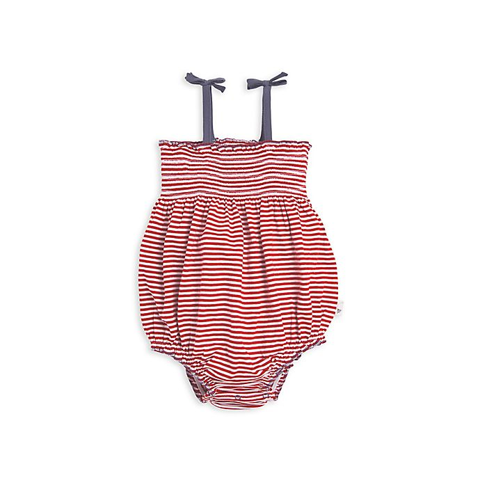 Alternate image 1 for Americana Stripe Organic Cotton Bubble Bodysuit in Red