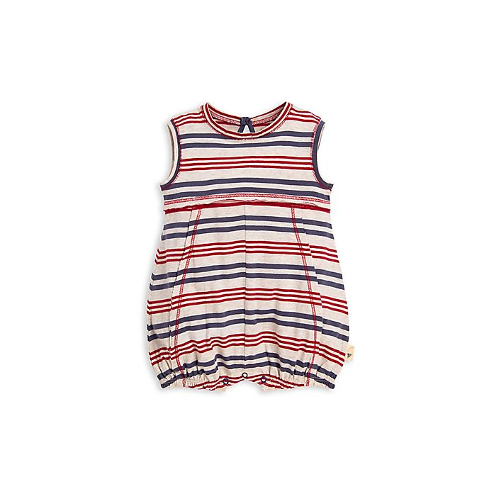 Alternate image 1 for Striped Bubble Romper in Red/Blue