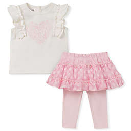 Calvin Klein 2-Piece Heart Shirt and Legging Set in Pink/White