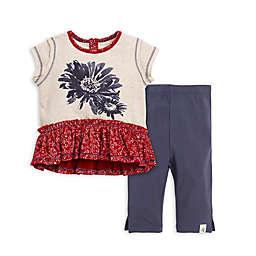 2-Piece Daisy Organic Cotton Top and Capri Legging Set in Grey