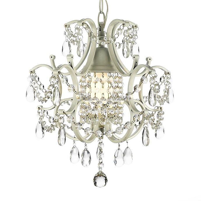 Alternate image 1 for Wrought Iron & Crystal 1-Light Chandelier in White