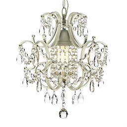 Wrought Iron & Crystal 1-Light Chandelier in White