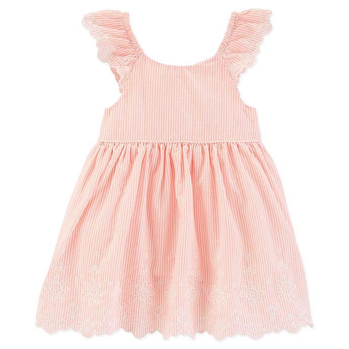 Alternate image 1 for OshKosh B'gosh® Size 9M Flutter Eyelet Dress in Coral