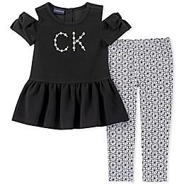 Calvin Klein 2-Piece Cold Shoulder Logo Shirt and Legging Set in Black
