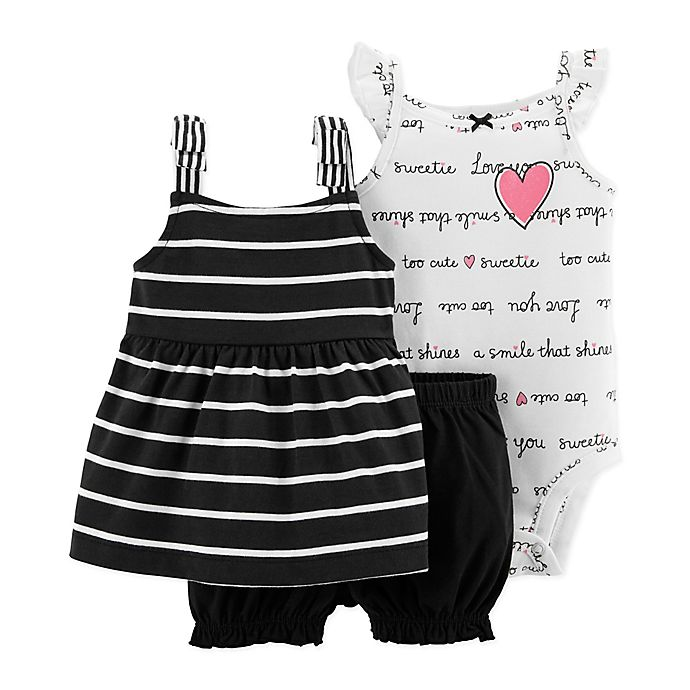 Alternate image 1 for carter's® Size 3M 3-Piece Sweetie Bodysuit, Dress, and Diaper Cover Set in Black