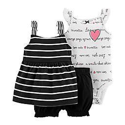 carter's® 3-Piece Sweetie Bodysuit, Dress, and Diaper Cover Set in Black