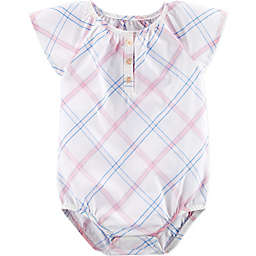 OshKosh B'gosh® Plaid Short Sleeve Bodysuit in White