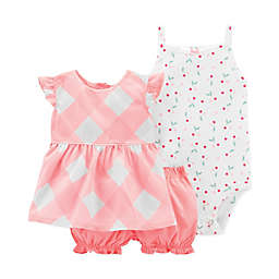 carter's® 3-Piece Gingham Tunic, Bodysuit and Short Set in Coral