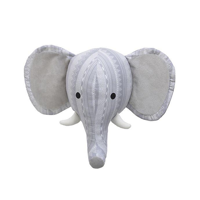 Alternate image 1 for Nojo® Elephant Head 9-Inch x 11-Inch Plush Wall Decor in Grey
