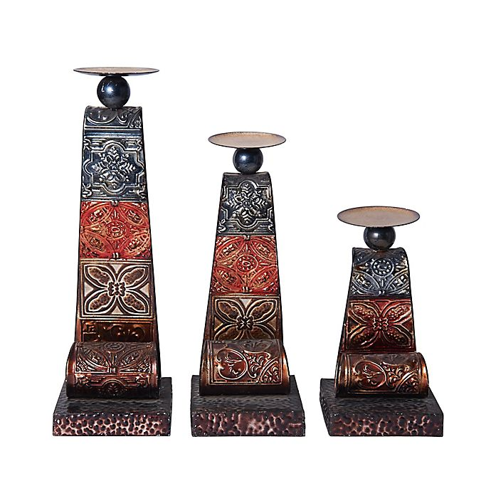 Alternate image 1 for Elements by Pfaltzgraff® Scroll Metal Patchwork Candle Holders (Set of 3)