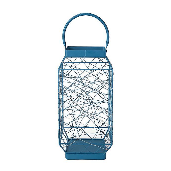 Alternate image 1 for Elements by Pfaltzgraff® Square LED 16-Inch Metal Lantern in Dark Blue