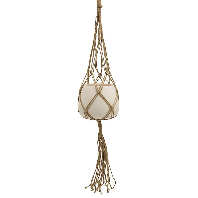 Alternate image 1 for Elements by Pfaltzgraff® White Ceramic Pot with Macramé Holder