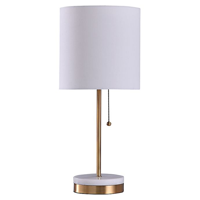 Alternate image 1 for Marble-Accented LED Table Lamp with Fabric Shade in Brushed Steel