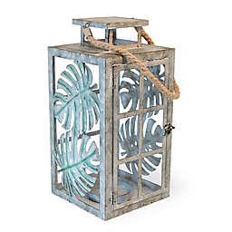 Boston International Palm Leaf Metal Lantern