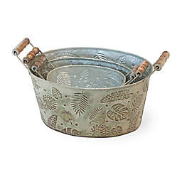Boston International Rustic Metal Nested 3-Piece Buckets