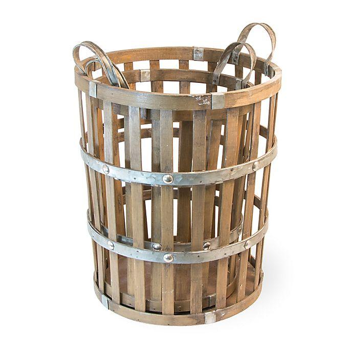 Alternate image 1 for Boston International Nested 2-Piece Bamboo & Metal Basket Set