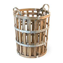 Boston International Nested 2-Piece Bamboo & Metal Basket Set