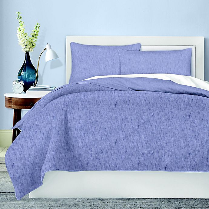 Alternate image 1 for Canadian Living Chambray Queen Duvet Cover in Blue