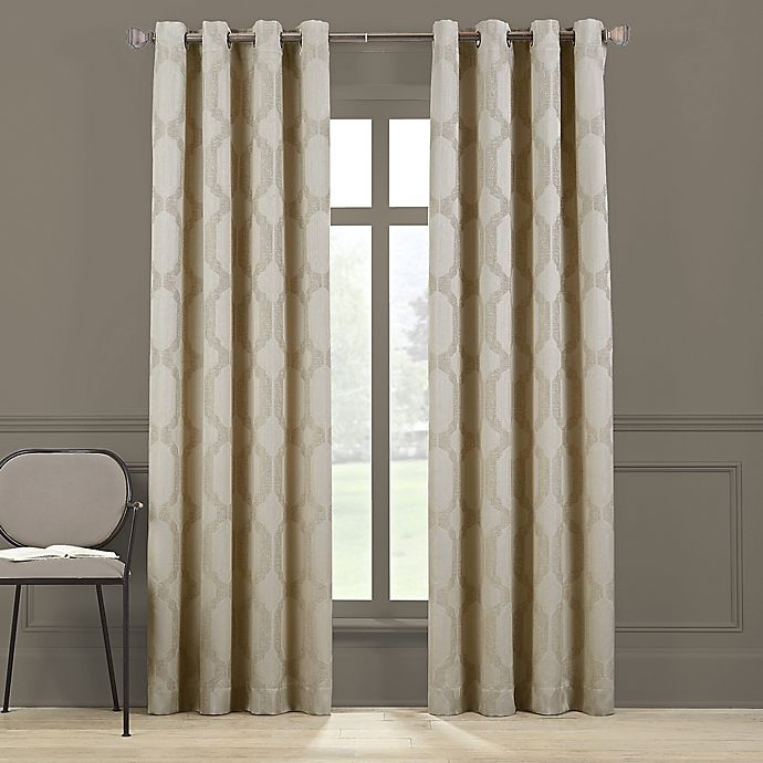 Alternate image 1 for Brookstone® Paxton 84-Inch Grommet 100% Blackout Window Curtain Panel in Linen