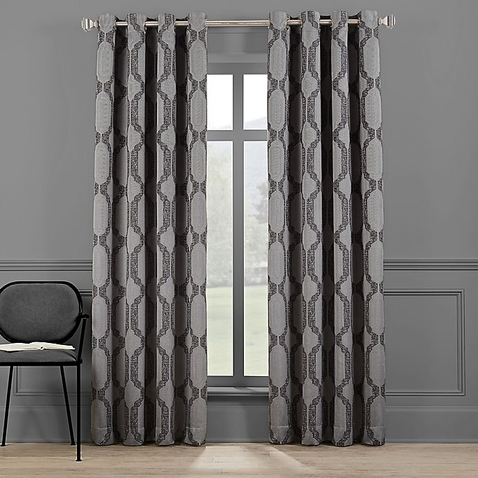 Alternate image 1 for Brookstone® Paxton 84-Inch Grommet 100% Blackout Window Curtain Panel in Dark Grey