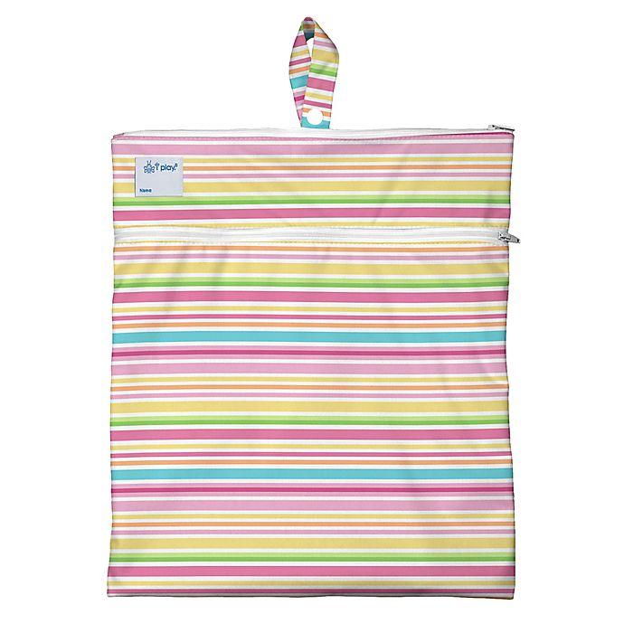 Alternate image 1 for i play.® Mini-Stripe Wet/Dry Bag in White