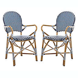 Safavieh Hooper Stackable Patio Armchairs in Navy/White (Set of 2)