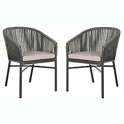 Safavieh Matteo Stackable Rope Patio Chairs in Grey (Set of 2)