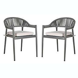 Safavieh Greer Stackable Rope Patio Chair in Grey (Set of 2)