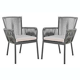Safavieh Paolo Stackable Rope Patio Chair in Grey (Set of 2)