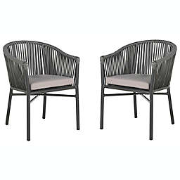 Safavieh Kofi Stackable Rope Patio Chair in Grey (Set of 2)