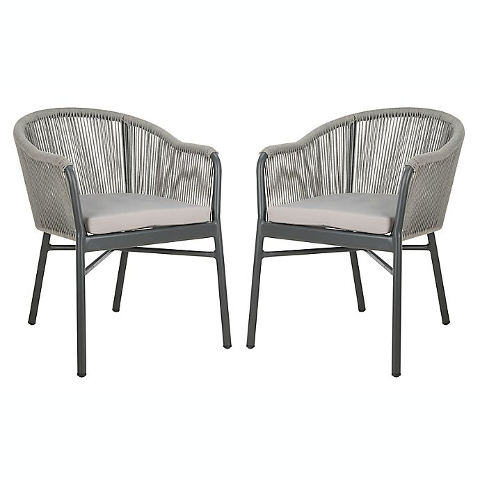 Remarkable Safavieh Nicolo Rope Patio Chairs In Grey Set Of 2 Bed Squirreltailoven Fun Painted Chair Ideas Images Squirreltailovenorg