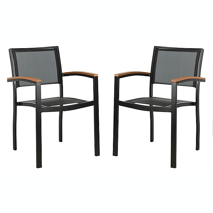 Alternate image 1 for Safavieh Kaelan Stackable Patio Chairs in Black/Brown (Set of 2)