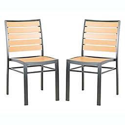 Safavieh Koda Stackable Patio Chairs in Black/Brown (Set of 2)