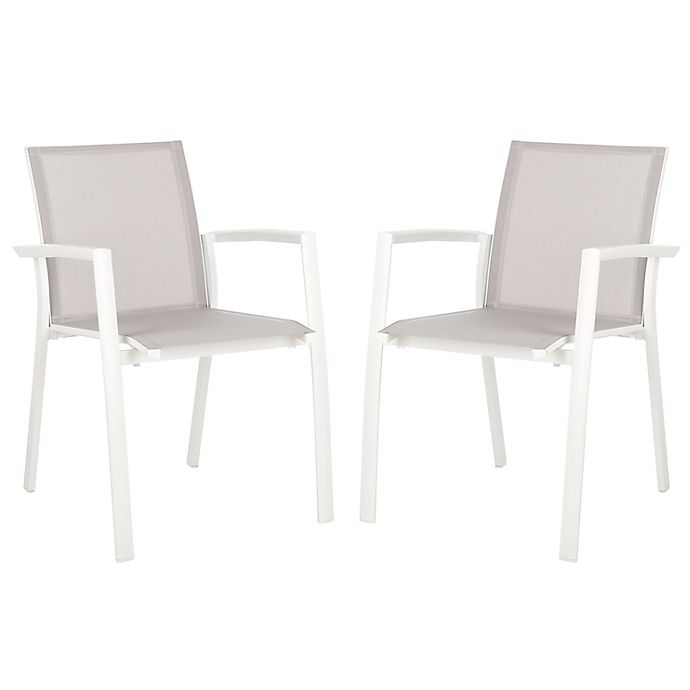 Alternate image 1 for Safavieh Negan Stackable Patio Chairs in Grey (Set of 2)
