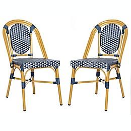 Safavieh Lenda Stackable Patio Bistro Chairs in Navy/White