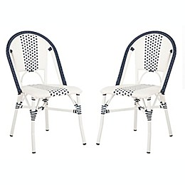 Safavieh Zoya Stackable Patio Chairs in Navy/White (Set of 2)