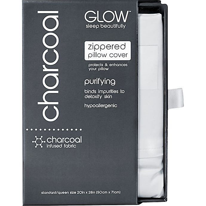 Alternate image 1 for Glow™ 300-Thread-Count Charcoal-Infused Standard/Queen Pillowcase in Off-White