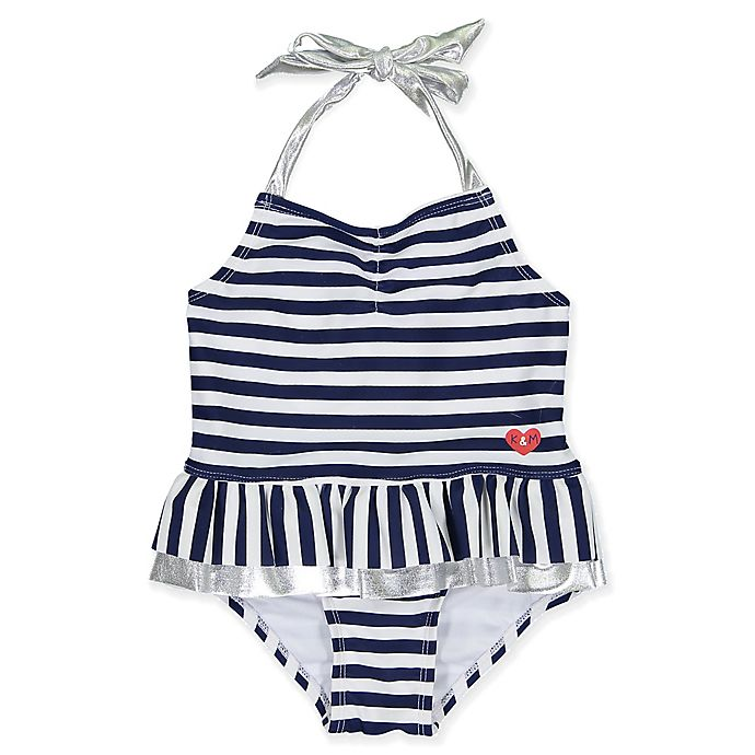 Alternate image 1 for Kiko & Max Size 12M Striped Halter One-Piece Swimsuit in Navy