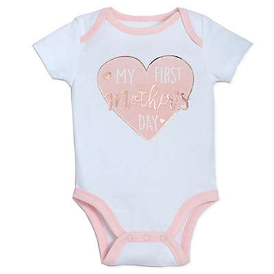 "babyGEAR™ ""My First Mother's Day"" Heart Bodysuit in Pink"