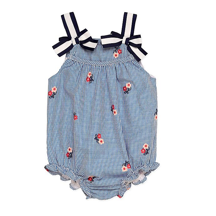 Alternate image 1 for Baby Starters® Size 9M Bubble Sunsuit in Navy/Pink