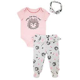 Mini Heroes™ 3-Piece Hedgehog Bodysuit, Footed Pant and Headband Set in Pink