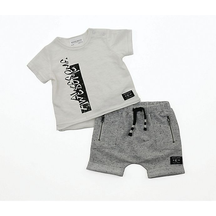 Alternate image 1 for Kidding Around Newborn 2-Piece Awesome Shorts Set in White